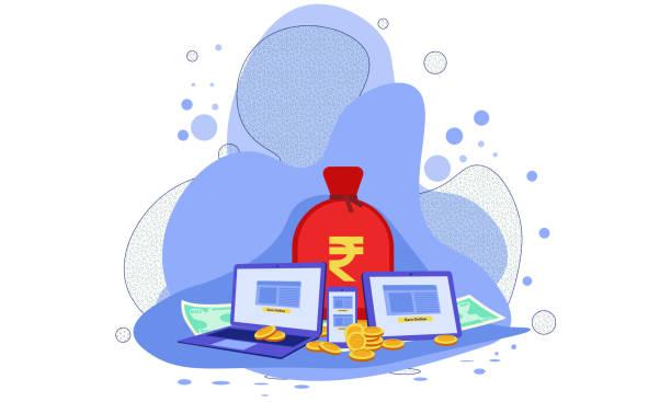 ilustrações, clipart, desenhos animados e ícones de ganhe o conceito do ponto, conceito indiano do negócio da rupia - banco edifício financeiro