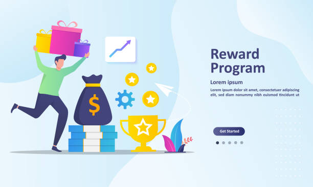illustrazioni stock, clip art, cartoni animati e icone di tendenza di earn point concept, loyalty program and get rewards, suitable for web landing page, ui, mobile app, banner template. vector illustration. - bonus
