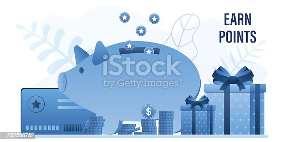 Earn points concept background. Piggy bank,gift boxes and bonus card. Loyalty, bonus program with prizes and cashback for clients. Reward retail system template. Trendy vector illustration
