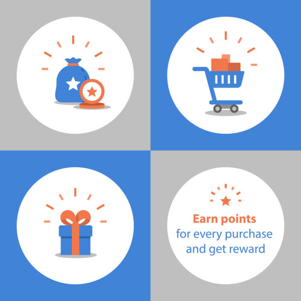 Earn points for purchase, loyalty program, reward concept, full shopping cart, redeem gift Loyalty program, earn points for purchase, reward concept, full shopping cart, redeem gift, vector icon, flat illustration incentive stock illustrations