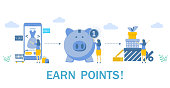 Earn points, vector flat illustration. Woman buying dress via smartphone, piggy bank, gift boxes. Customer reward loyalty program, earn bonuses concept for web banner, website page, etc.