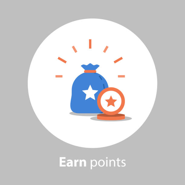illustrazioni stock, clip art, cartoni animati e icone di tendenza di earn points, loyalty program, reward concept, collect points, flat icon - bonus