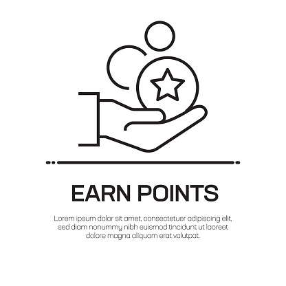 Earn Points Vector Line Icon - Simple Thin Line Icon, Premium Quality Design Element