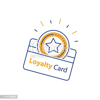 Loyalty card, incentive gift, collecting bonus, earn reward, shopping perks, discount coupon, vector mono line icon, linear illustration, outline design