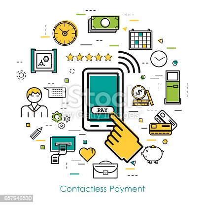 Vector round concept of Contactless Payment or new technology of banking system in thin line style. Mobile phone with hand and button pay, banknotes and coins, businessman, device and others icons