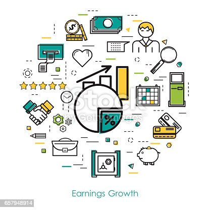 Vector round concept of earnings growth or financial statistic in thin line art style. Chart with arrow up, businessman, devices and finance icons. Modern round web banner