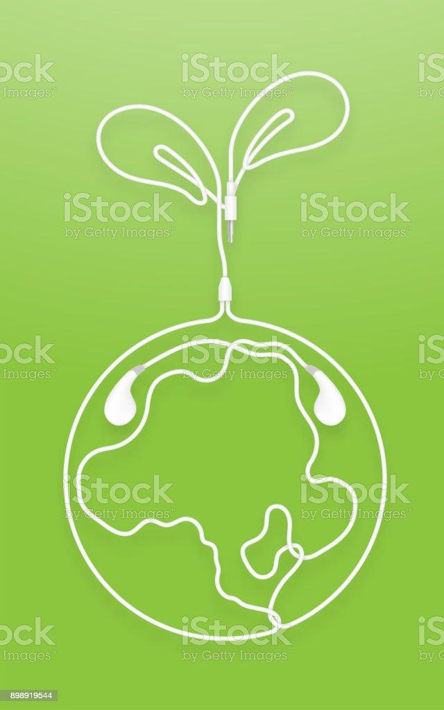 Ilustración de Auriculares Auricular Tipo Blanco Color Y Planta De ...