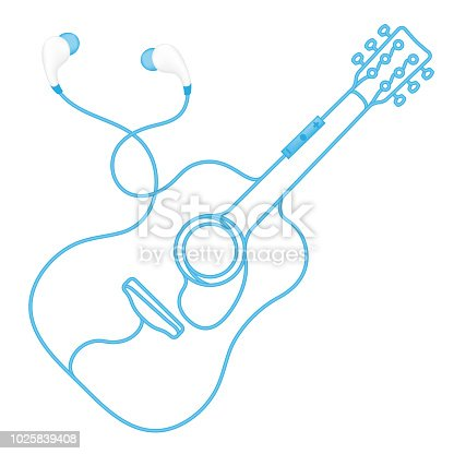 Earphones wireless and remote, In Ear type blue color and acoustic guitar shape made from cable isolated on white background, with copy space