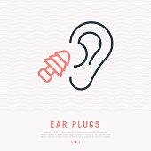 Earplug thin line icon. Modern vector illustration of ear protection.
