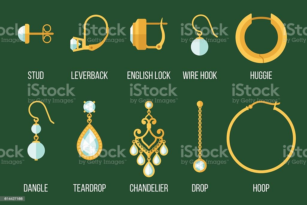 Earring Types Stock Vector Art More Images Of Adult 614427166 Istock