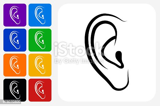 Ears Icon Square Button Set. The icon is in black on a white square with rounded corners. The are eight alternative button options on the left in purple, blue, navy, green, orange, yellow, black and red colors. The icon is in white against these vibrant backgrounds. The illustration is flat and will work well both online and in print.