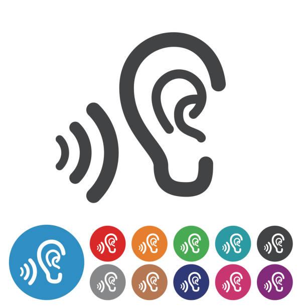 ohren icons-grafik-symbol-serie - farbwahrnehmung stock-grafiken, -clipart, -cartoons und -symbole