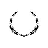 Stylized ears of wheat. Vector design element isolated on a white background.