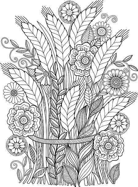 Ears sheaf of flowers vector art illustration