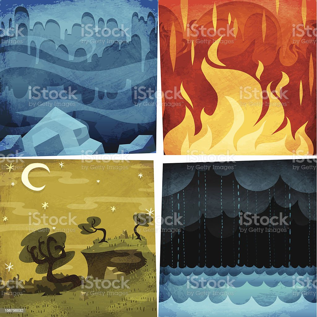 Earth, Air, Fire, Water vector art illustration