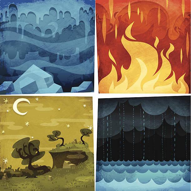 ilustraciones, imágenes clip art, dibujos animados e iconos de stock de tierra, fuego y aire, agua - storm