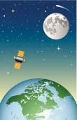 A vector illustration of the earth, moon and a communications satellite.