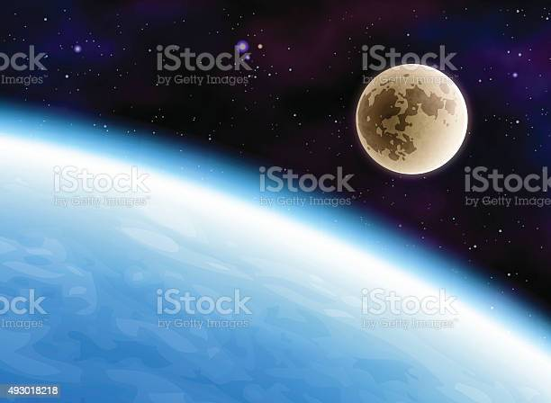 Earth And Moon Stock Illustration - Download Image Now