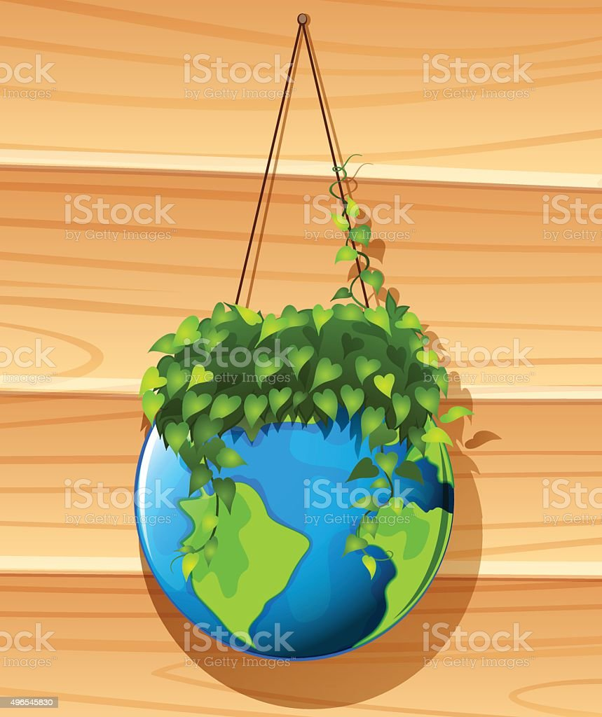 Earth And Plant Hanging On The Wall stock vector art 496545830 | iStock