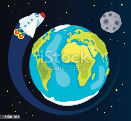 istock Earth and space ship 165961956