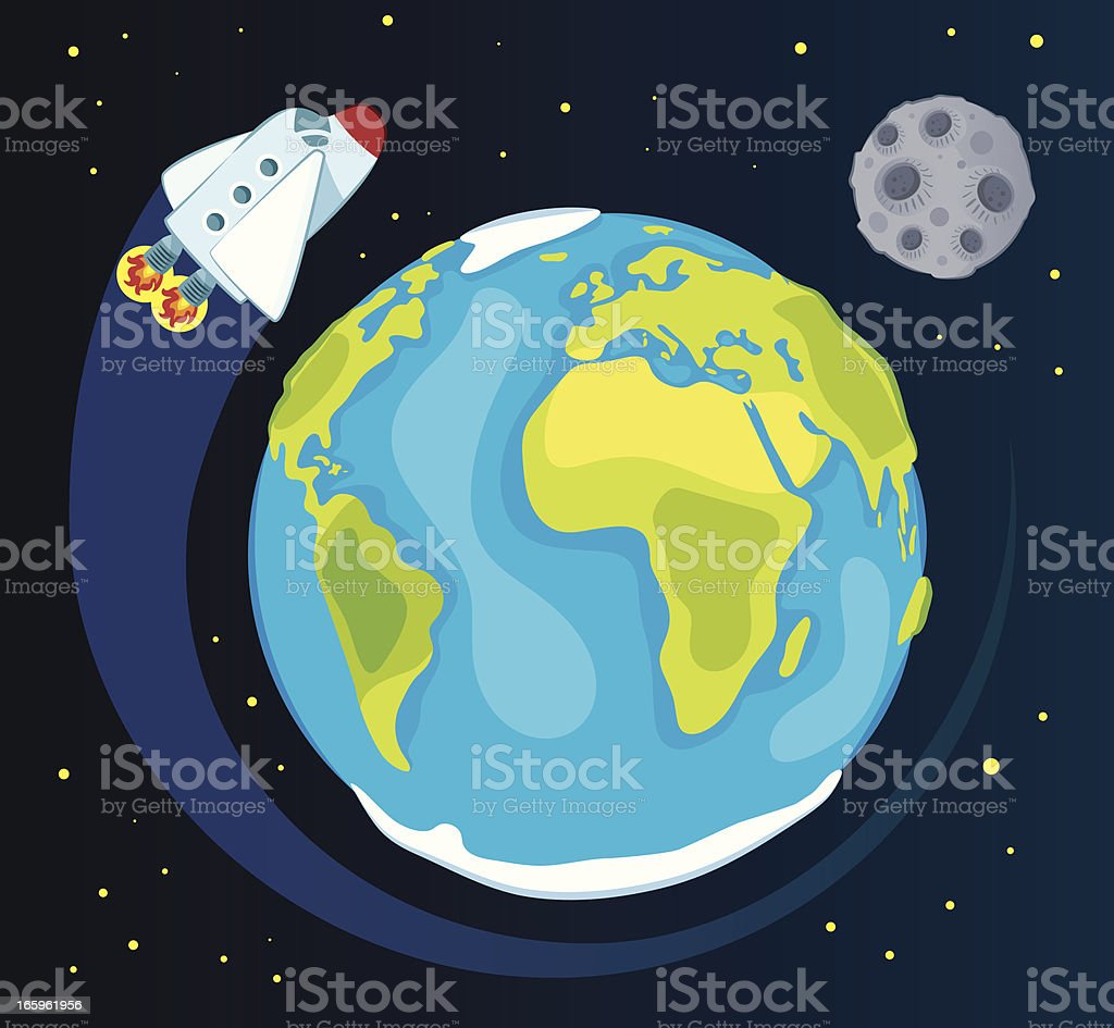 Earth and space ship vector art illustration