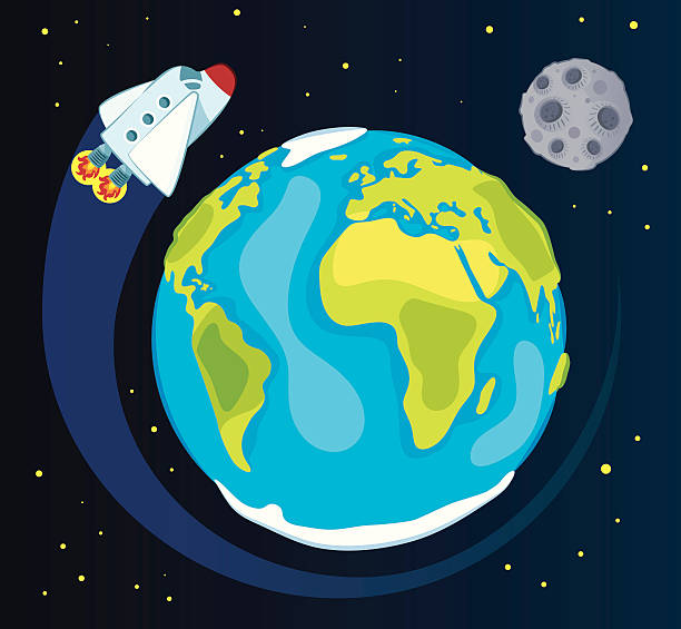 stockillustraties, clipart, cartoons en iconen met earth and space ship - planeet aarde