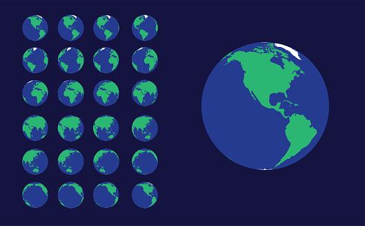 Earth Animation Frame Planet Rotation Vector