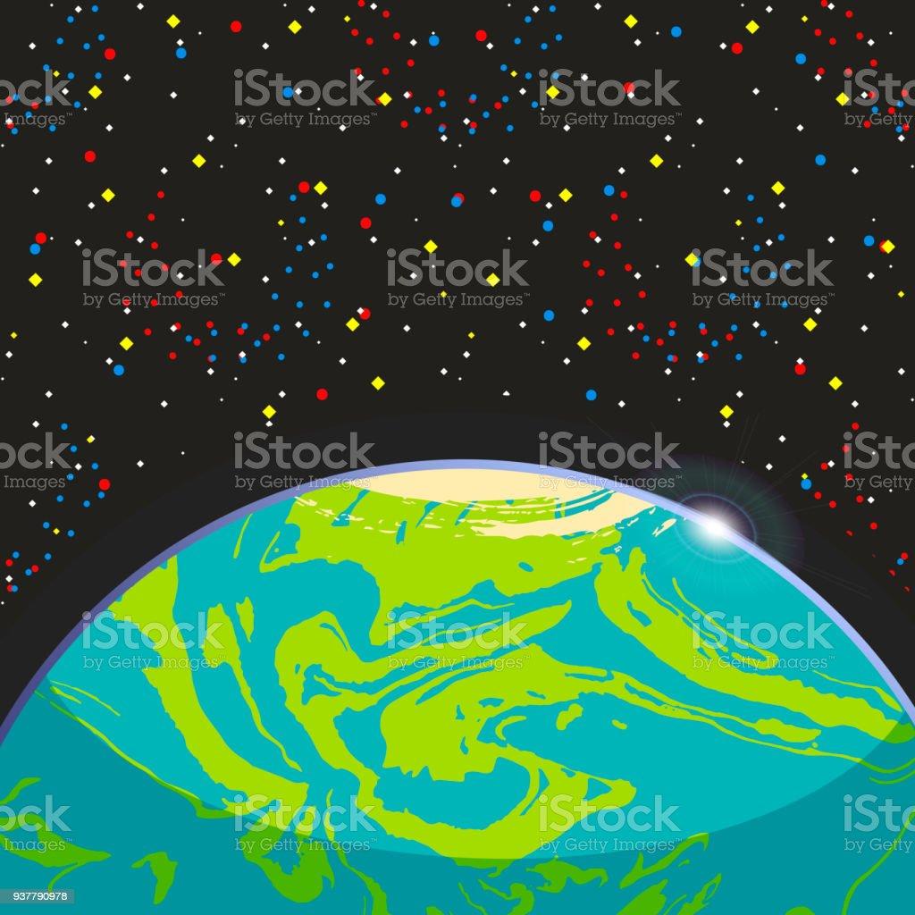 Terre Planete Exo Terrestre Globe Bleu Fonce Espace Etoiles Fond
