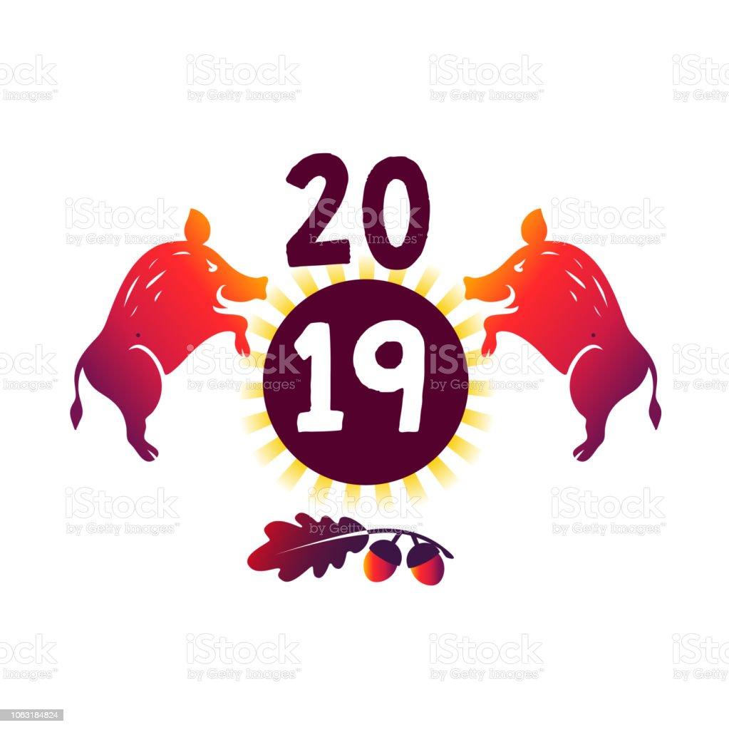 Erdewildschwein Symbol Des Chinesischen Neuen Jahres 2019 Einladung ...
