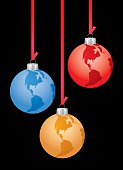 Vector illustration of three hanging earth christmas ornaments. One blue, one gold and one red.