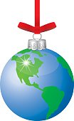 Vector illustration of a hanging earth christmas ornament.