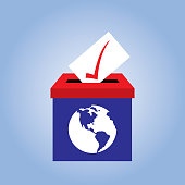 Vector illustration of a red and blue ballot box with a white and blue earth on it.