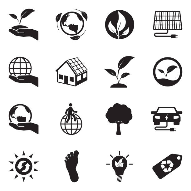 ilustrações de stock, clip art, desenhos animados e ícones de earth conservation and ecology icons. black flat design. vector illustration. - feet hand
