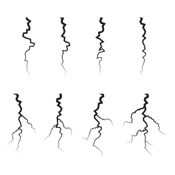earth crack vector set. crack silhouettes isolated set. - crack stock illustrations, clip art, cartoons, & icons