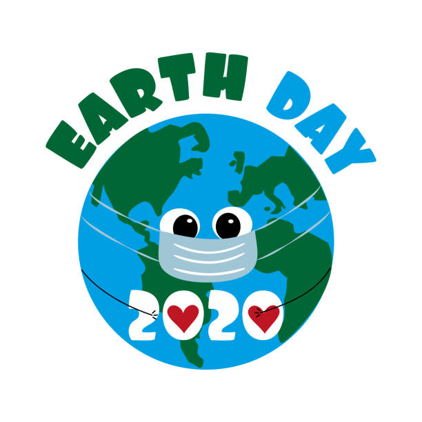 Earth Day 2020 text with Earth Planet in mask. Earth Day 2020 text with Earth Planet in mask. Good for poster, banner, textile print. earth day stock illustrations