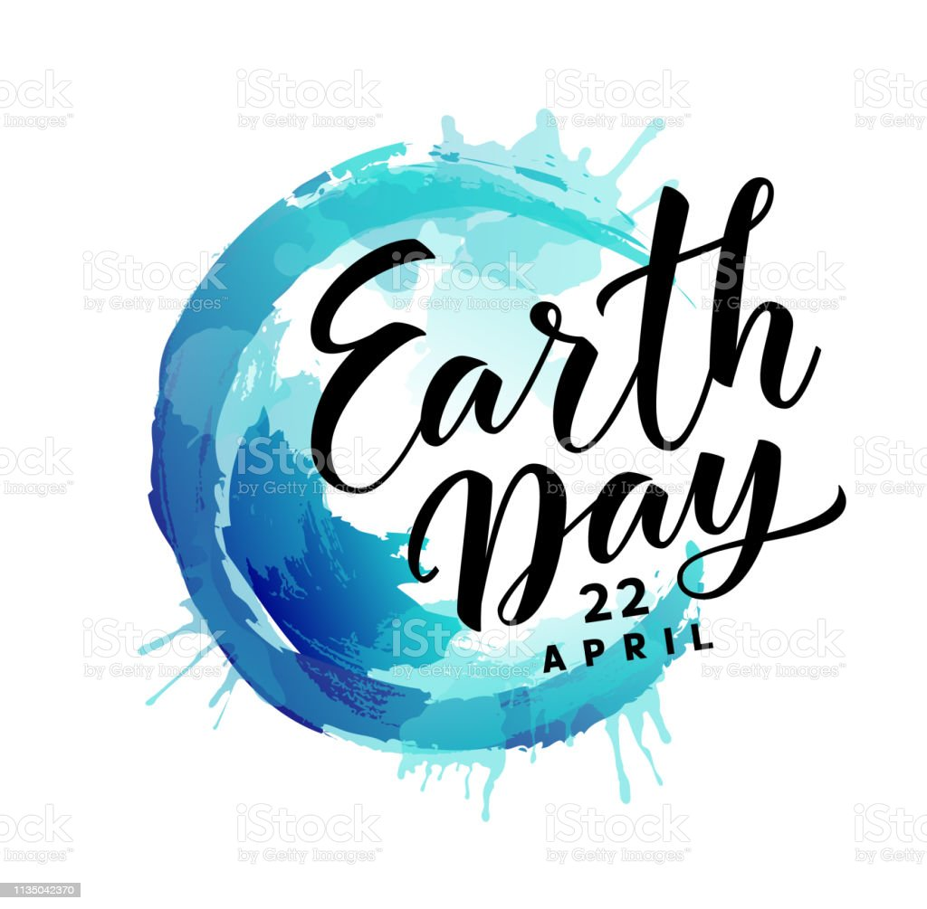 Earth Day. 22 april. Abstract blue Earth planet with text vector art illustration