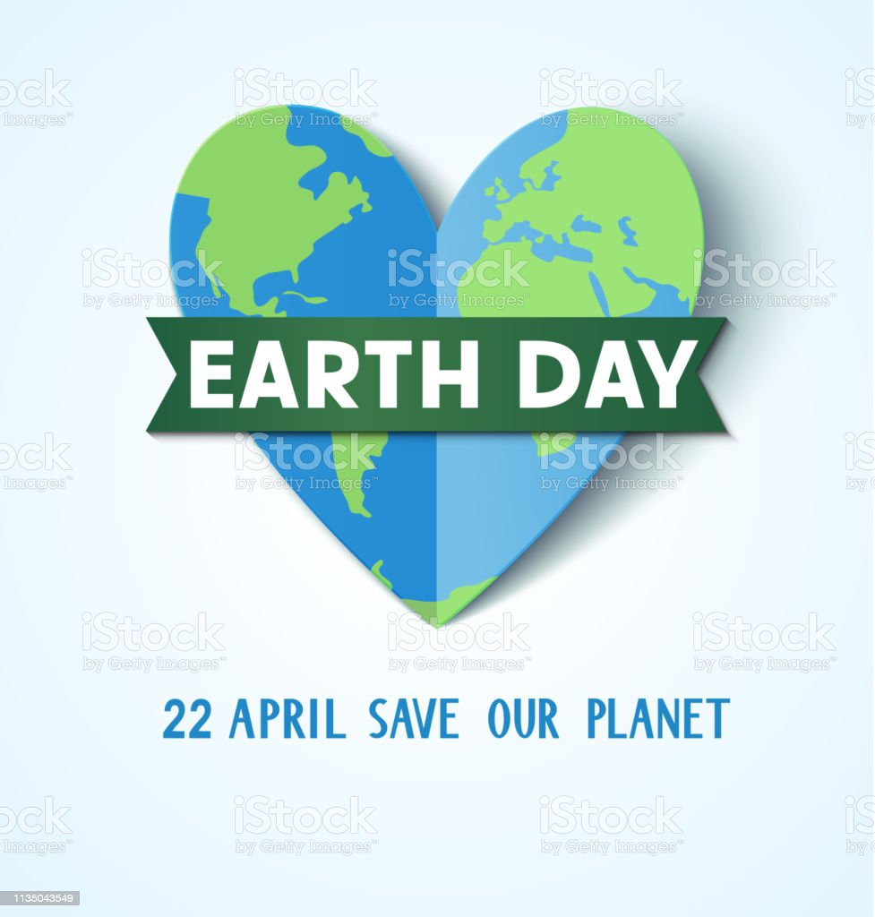Earth Day. 22 april. Save our planet.Abstract heart with Earth globe vector art illustration