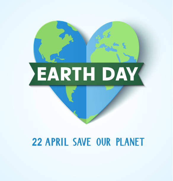 Earth Day. 22 april. Save our planet.Abstract heart with Earth globe Vector illustration earth day stock illustrations