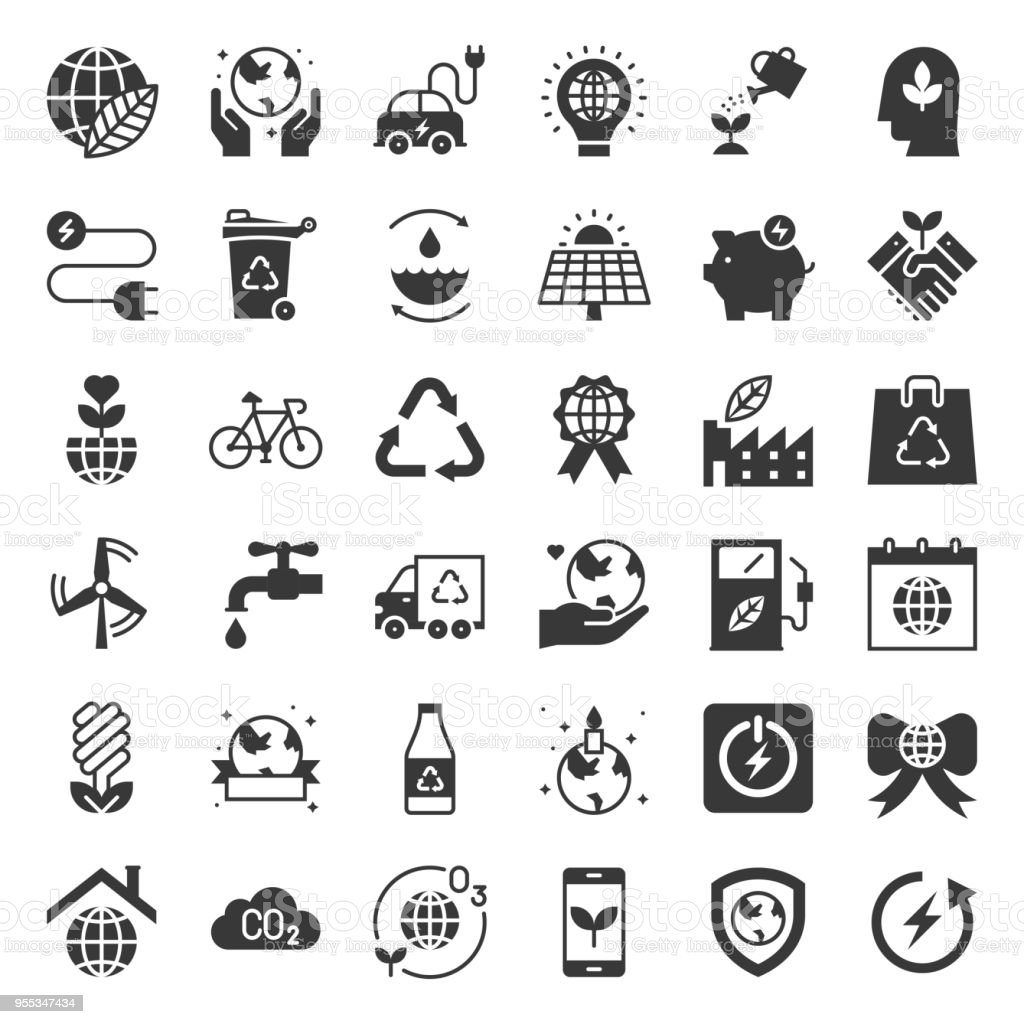 Earth day and ecology icon, solid icon set vector art illustration