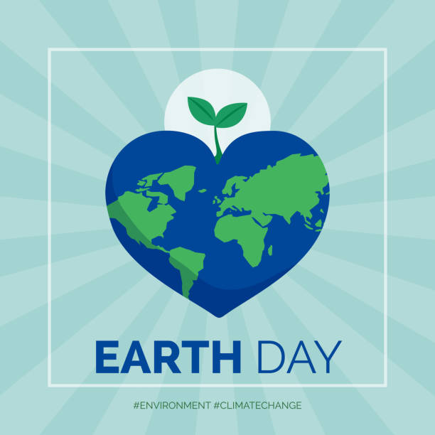 Earth day and environmental protection Earth day and environmental protection social media post and card, heart shaped earth with sprout earth day stock illustrations