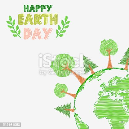 Illustration of Earth day and the environment with shape paintings
