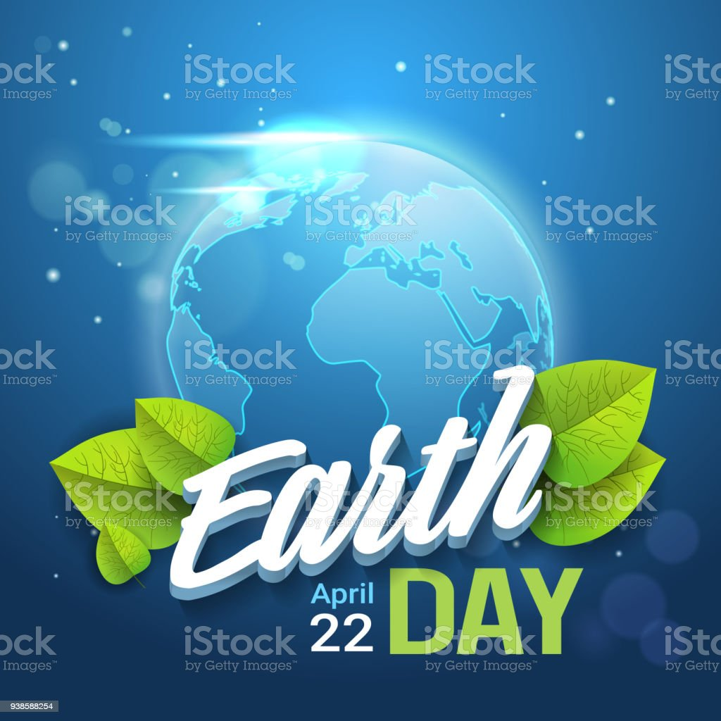 Earth Day Background Happy Holiday Greeting Card With Blue Planet