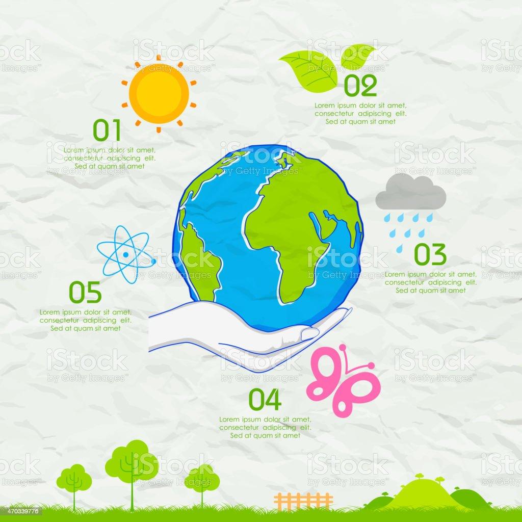Fondo de día de la tierra en papel triturados - ilustración de arte vectorial
