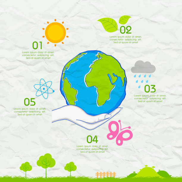 earth day background on crushed paper - earth day stock illustrations, clip art, cartoons, & icons
