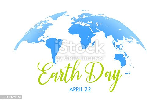 Earth Day banner. Save the planet, green concept. Blue Earth semiglobe on white background with green and blue texts.