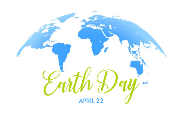 Earth Day background Earth Day banner. Save the planet, green concept. Blue Earth semiglobe on white background with green and blue texts. earth day stock illustrations