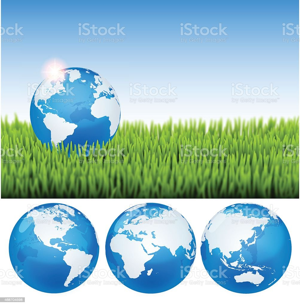 Earth Day background[Earth on the grass] vector art illustration