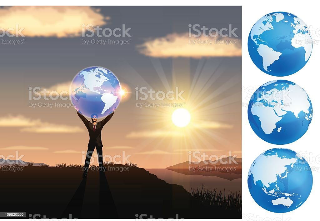 Earth Day background[Lifting the earth] vector art illustration