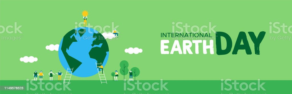 International Earth Day banner illustration of people group...