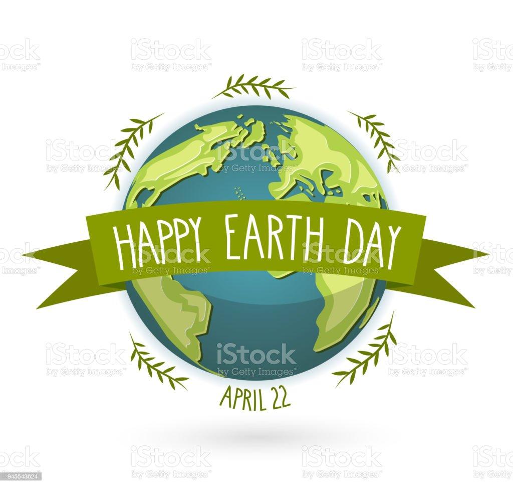 Día de la tierra de la bandera con el texto escrito a mano, 22 de abril ilustración vectorial. - ilustración de arte vectorial
